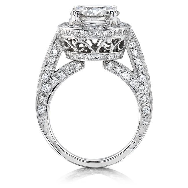 b5c530842 14k White Gold Pave Set Diamond Halo Engagement Semi Mount Ring from  designer, Natalie K.