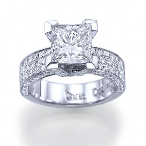 This Modern Princess Cut Engagement Ring Is So Beautiful It On The Larger Side But That S Why I Love Covered In Diamonds And Can Just Imagine