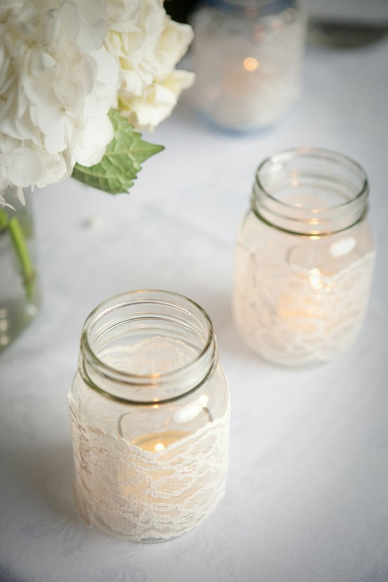 Diy lace mason jars the yes girls our cowgirl bride to be becca is a huge fan of lace so it was no surprise that she fell in love with these mason jars since her wedding is only a month junglespirit Image collections