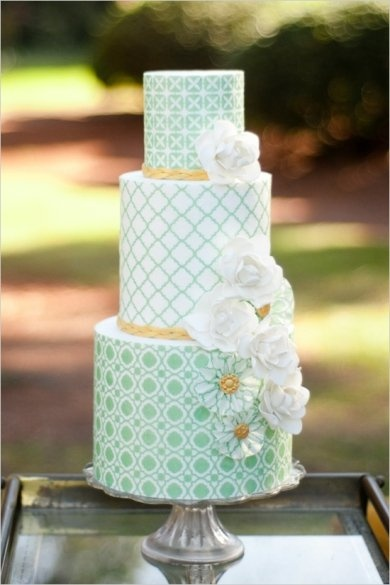 mint green pattern cake pinterest