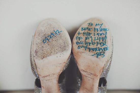 message under wedding high heels