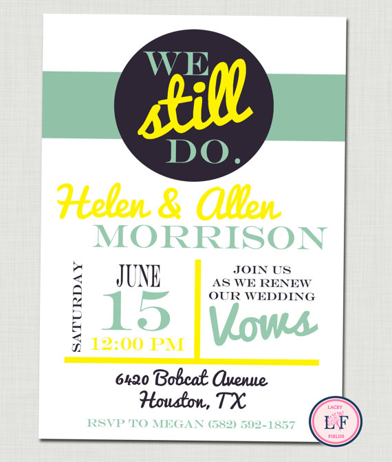 Adorable Vow Renewal and Engagement Party Invitations ...